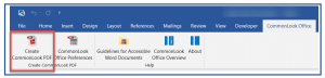 The Create CommonLook PDF button on the left side of the CommonLook Office ribbon.