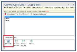 "Screenshot of the Tables checkpoint in CommonLook Office. The first table in the list is selected and the ""Presentation"" type is highlighted."