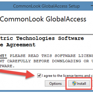 The CommonLook PDF Global Access License Agreement dialog window.