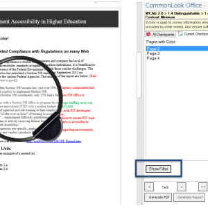 """Screen shot of the Color Checkpoint panel with the """"Show Filter"""" button highlighted and the filter turned on over a portion of the document showing color removed."""