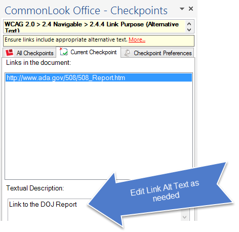 Screen shot of the CommonLook Office panel for adding or editing Alternative Text to links.