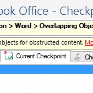 Screen shot of the CommonLook Office Global Access panel for Overlapping Objects. Two objects are listed to verify that content is not being obstructed.