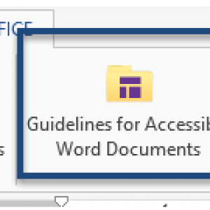"""Screen shot of the ribbon in CommonLook Office Global Access with the button for """"Guidelines for Accessible Word Documents"""" highlighted."""