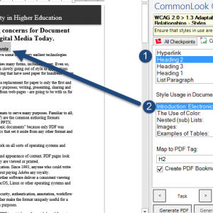 Screen Shot of CommonLook Office Global Access checking that the correct style is used for the selected text.