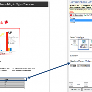 Screen shot showing a data table in the document. In the CommonLook Office Global Access panel, the table type is set to Column Headers and one row of column headers has been identified,