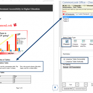 Screen shot showing a presentation table in the document, the table is identified in the CommonLook Office Global Access panel, the Table type - Presentation - is highlighted, as are the options to linearize horizontally or vertically.