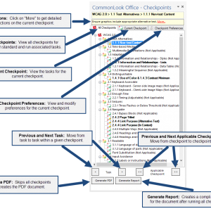 Screen shot of the CommonLook Office Global Access Panel. The features identified in the image are described below.