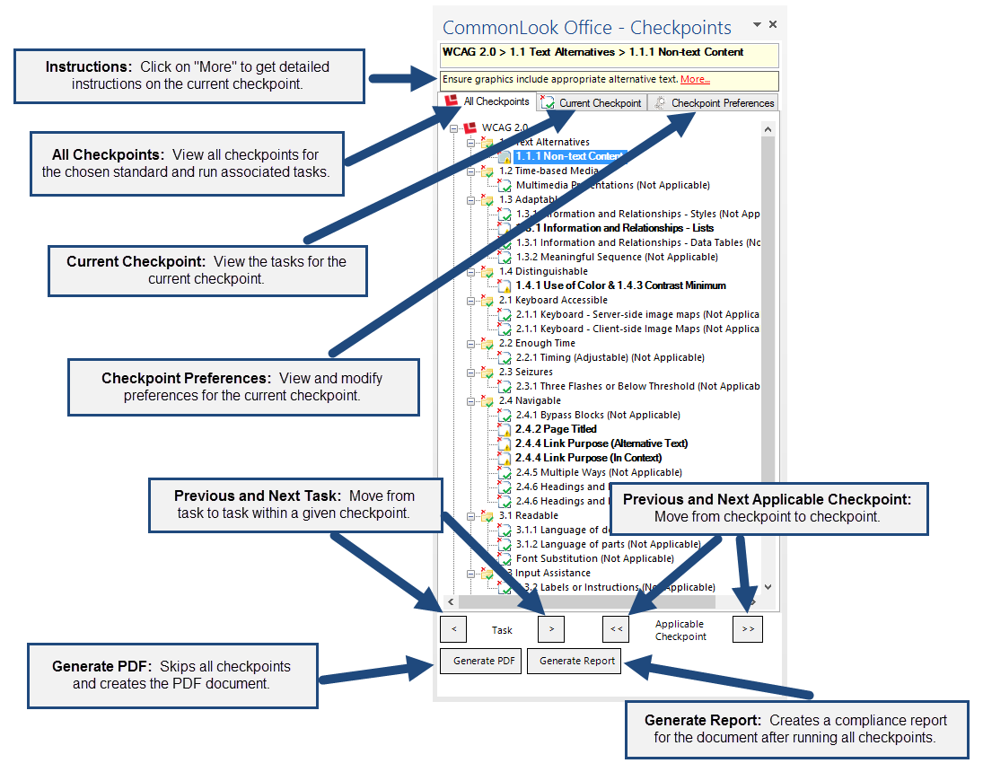 Screen shot of the CommonLook Office Panel. The features identified in the image are described below.