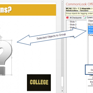 Screen shot of the panel in CommonLook Office Global Access for PowerPoint in which the user can group multiple images.