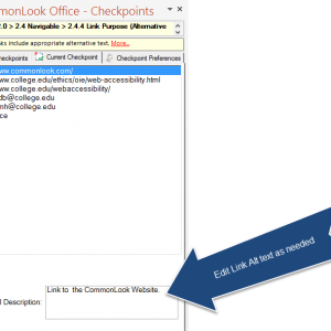Screen shot of the CommonLook Office Global Access panel for adding or editing Alternative Text to links.