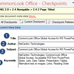 Screen shot of the Metadata panel in CommonLook Office Global Access. The title, author, subject, and keywords boxes are filled in.