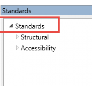 The Standards panel with the Standards checker highlighted and opened to show the check options.