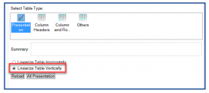 Screenshot with the Linearize Table Vertically option highlighted in CommonLook Office.