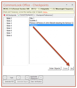 Screenshot of the CommonLook panel on the Meaningful Sequence (Reading Order) checkpoint. TextBox 2 is selected and the Up button is highlighted.