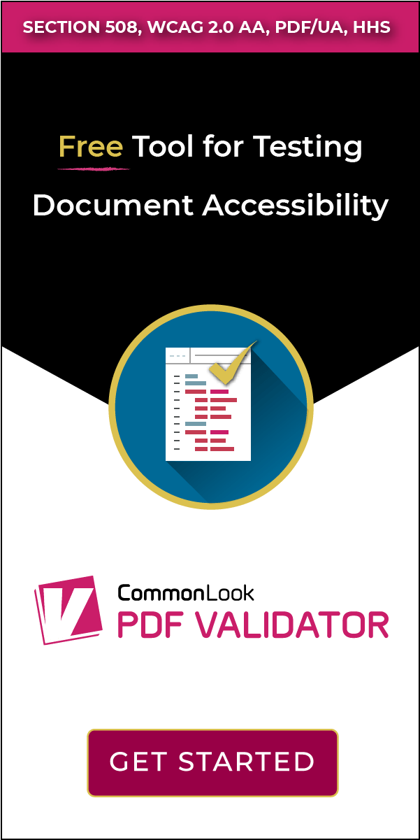 PDF Validator banner that says Section 508, WCAG 2.0 AA, PDF/UA, HHS. Free Tool for Testing Document Accessibility with a button that links to free pdf validator download