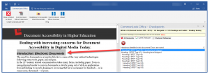 Screenshot of the CommonLook Office for Skipped Headings. The headings in the document are listed, the first is selected, and the corresponding text is highlighted in the document.