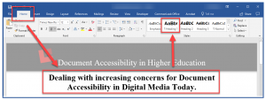 Screenshot showing the Home tab highlighted in Word, the document title is identified, and the Heading 1 style is highlighted.