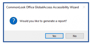 The dialog box to generate a compliance report.