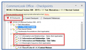 "The ""All Checkpionts"" tab in CommonLook Office. In the All checkpoints panel, two bolded checkpoints and two others, not in bold and with ""Not Applicable"" in parentheses, are highlighted."