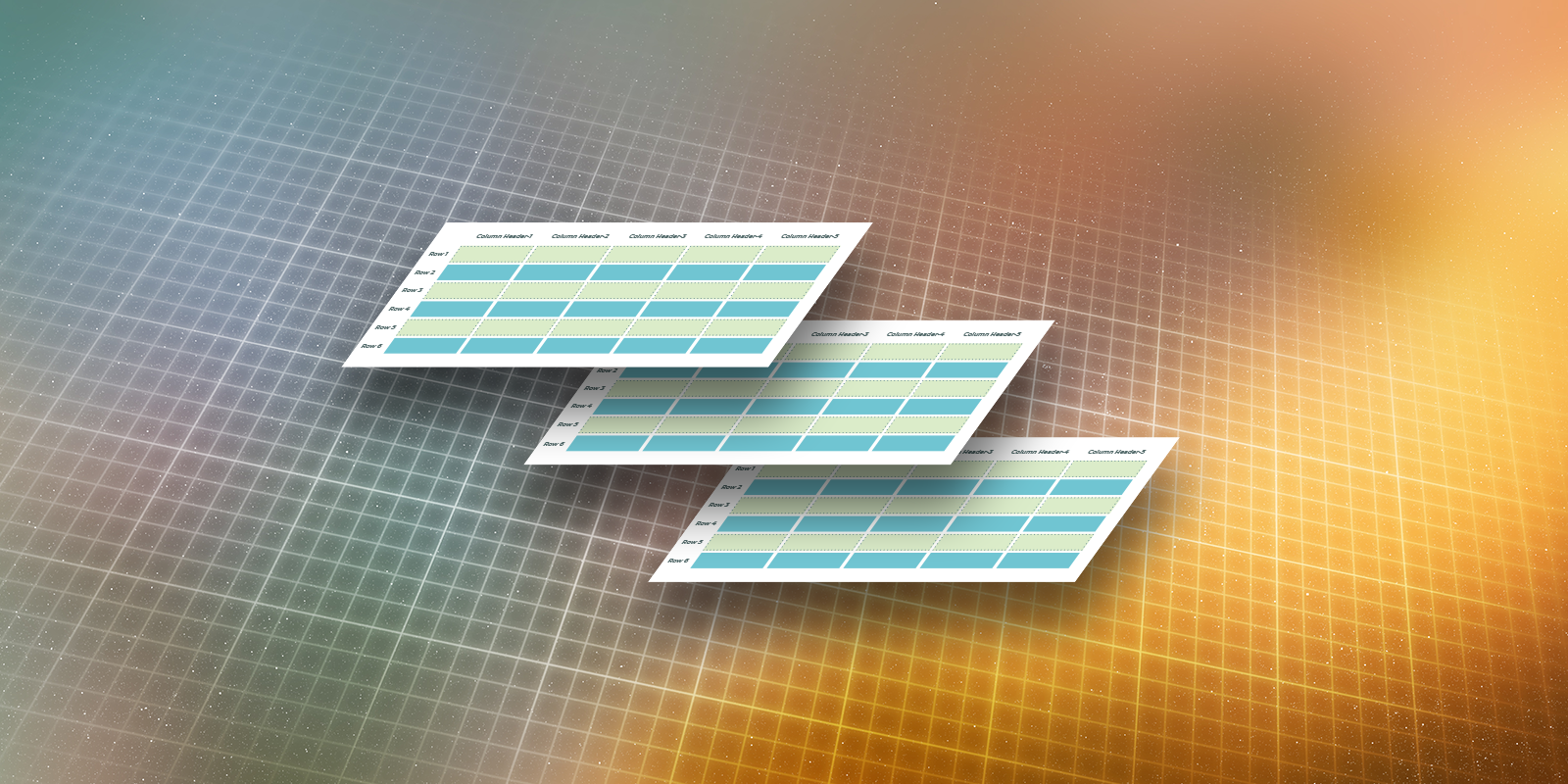 Graphic of three tables suspended in midair with a high tech grid background
