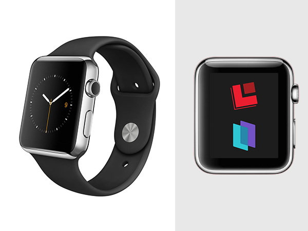 black apple watch side and front view with commonlook and monsido logos