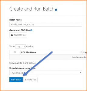 The Run Batch button on the Create and Run Batch screen.