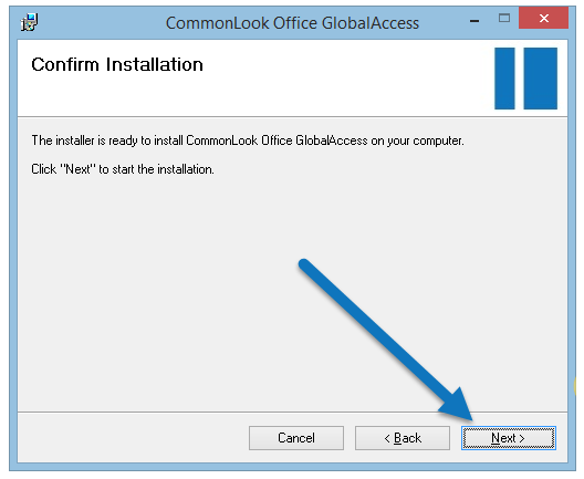Screen shot of confirm installation dialog.