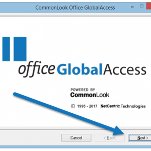 """The CommonLook Office splash screen with the """"Next"""" button highlighted."""