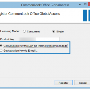 "The Register CommonLook Office GlobalAccess Screen with the Licensing Model options highlighted. The ""Single"" user radio buttion is selected."