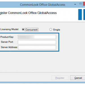 The Register CommonLook Office GlobalAccess screen with the Product Key, Server Port, and Server Address fields highlighted.