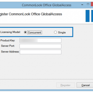 The Register CommonLook Office GlobalAccess screen with the Concurrent user Licensing Model radio button highlighted and selected.