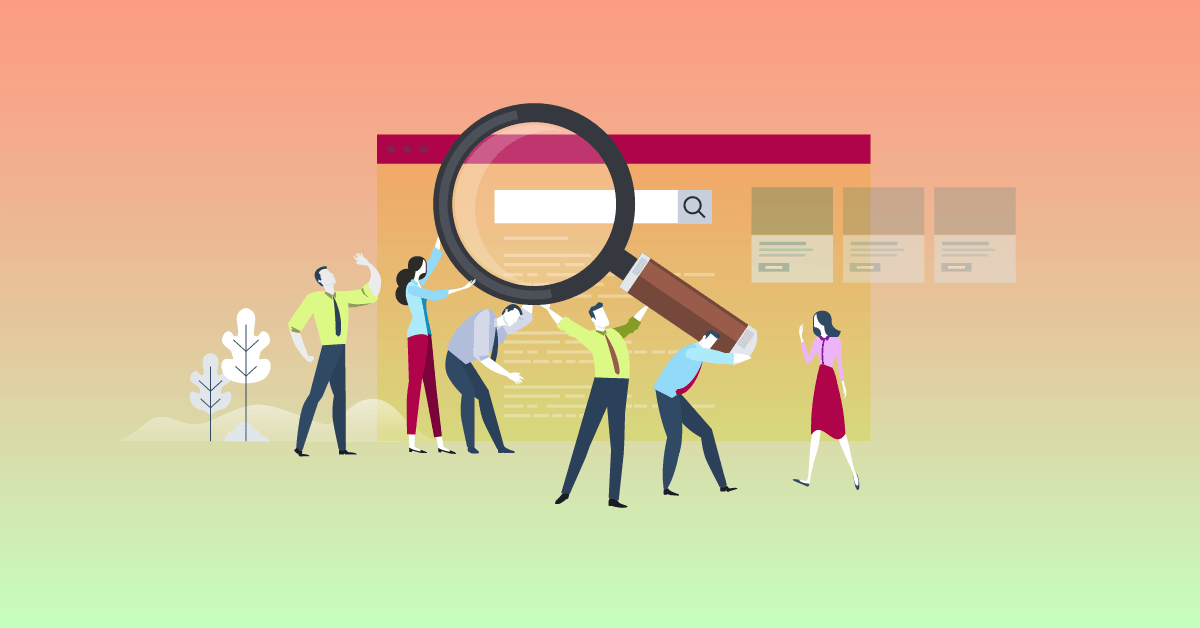 Colorful Illustration showing workers lifting a large magnifying glass to a software search bar