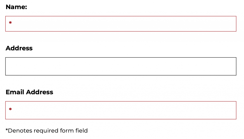 form showing required fields outlined in red with a red star inside them