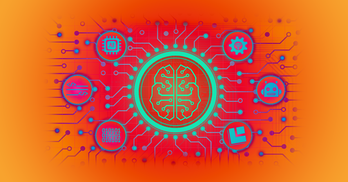 Futuristic illustration showing a brain inside a circle that branches out into an orange-red background of circuitry