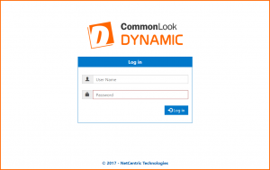 The CommonLook Dynamic Login Screen showing the User Name and Password fields as well as the Log in button.
