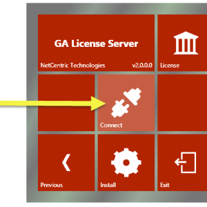 The Connect button in the CommonLook GA Licensing Server setup.