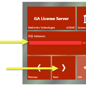 """The CommonLook Licensing Server installation screen with the SQL Instance field and the """"Next"""" button highlighted."""