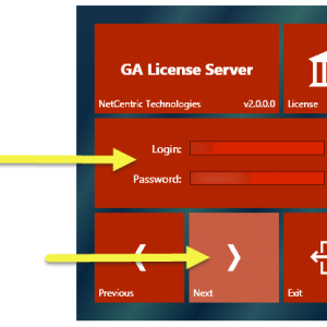 """The GA License Server installation screen with the Login and Password fields, as well as the """"Next"""" button highlighted."""