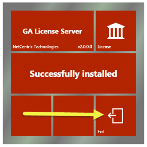 """The GA License Server installation screen indicating that the License Server has been successfully installed. The """"Exit"""" button is highlighted."""