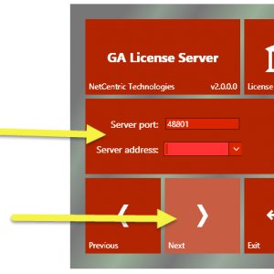 """The CommonLook GA License Server installation screen with the Server Port and Server Address fields highlighted. The port number 4 8 8 0 1 has been entered. The """"Next"""" button is also highlighted."""