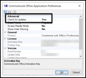 The CommonLook Office Application Preferences dialog box with the Check for Updates option highlighted.