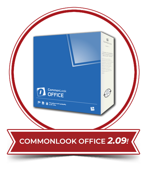 CommonLook Office blue product box within a red circle and a banner that says CommonLook Office 2.09!
