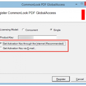The Register CommonLook PDF GlobalAccess screen with the Activation options - by internet or by email - highlighted.