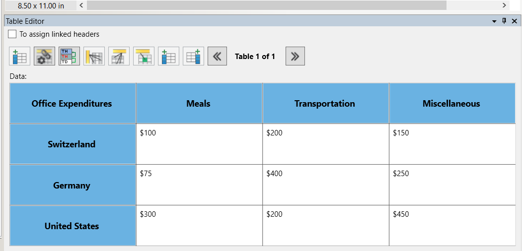 CommonLook PDF's table editor screen shot showing header rows and columns in blue with numbers in the rows and columns.