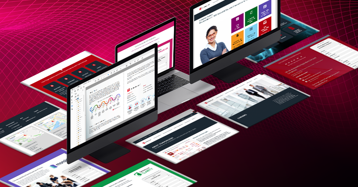 A series of computer screens and web pages shown in perspective over a red technology landscape