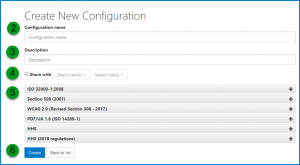 The Create New Configuration screen with the options identified as described in the preceding list.