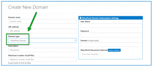 The screen to create a new Domain is open and the option to create a new SharePoint Domain is highlighted.
