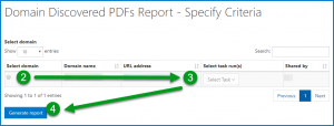 The Domain Discovered PDFs - Specify Criteria screen with the Domain, Task, and Generate Report choices numbered according to the preceding list.