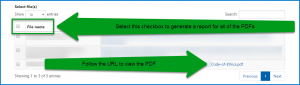The Select Files screen to choose PDFs for the File Compliance Report. The checkbox to choose all PDFs is highlighted as is a URL to follow to view the document itself.