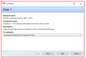 Screenshot showing Step One in the Fix Wizard to correct the issue of a Figure tag not having Alternative text.